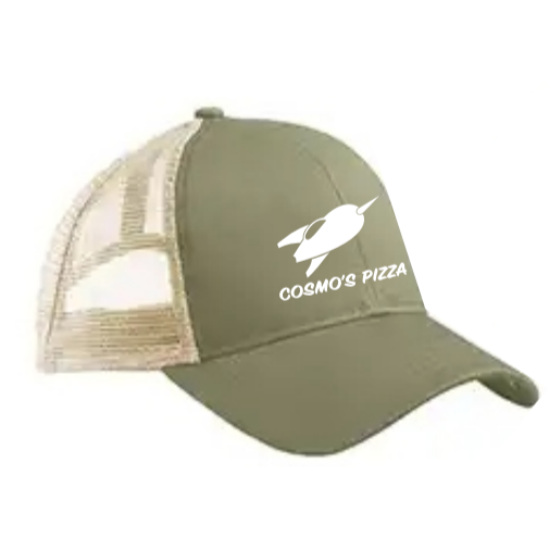 Olive White Trucker Hat - Cosmos Pizza d8b16e0f3a4